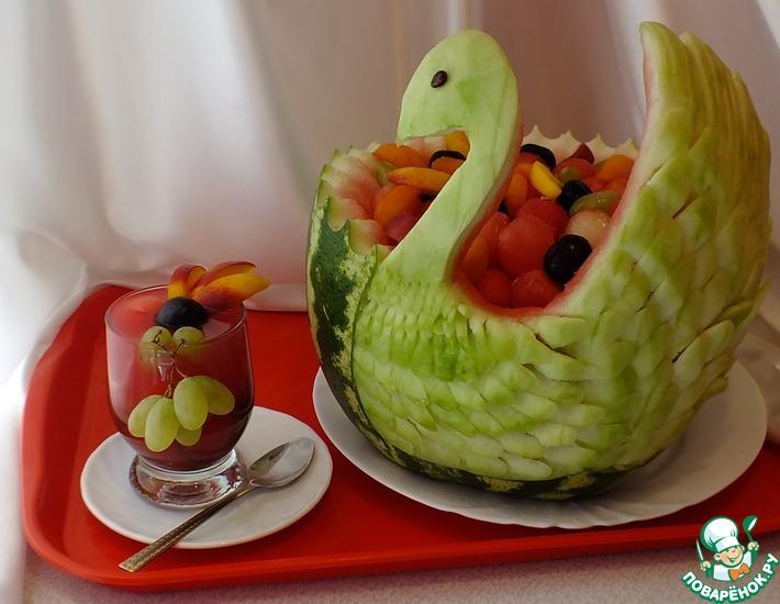 Рецепт: Крюшон Арбузный лебедь