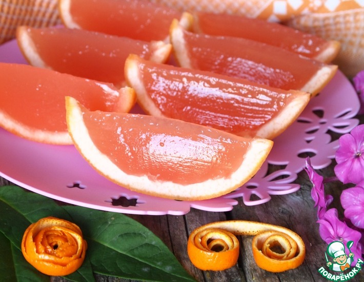 Рецепт: Желе Грейпфрутовые дольки