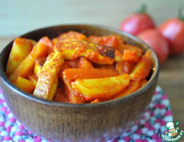 Рецепт: Томатное овощное рагу с сыром А-ля сабджи