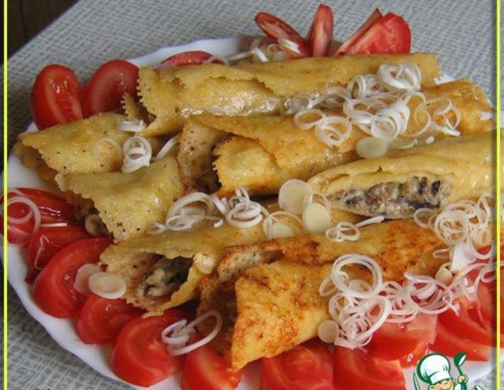Рецепт: Сырные трубочки с жюльеном