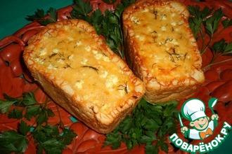 Рецепт: Сырно-овощной жульен в белом хлебе