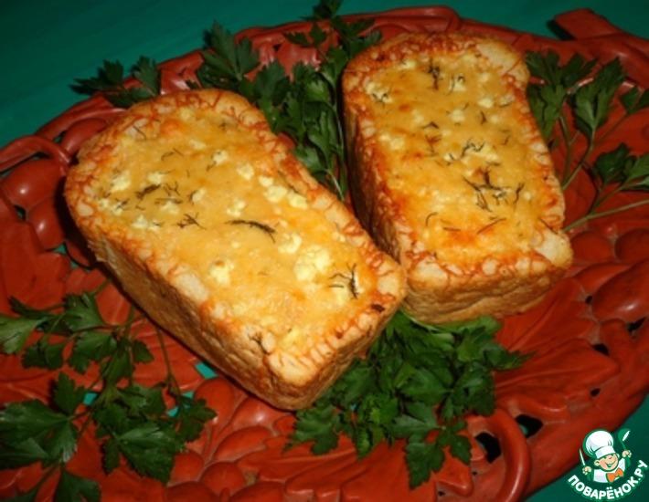 Рецепт: Сырно-овощной жюльен в белом хлебе