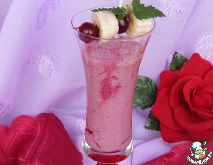Рецепт: Бананово-вишневый коктейль