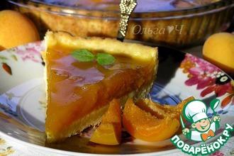 Рецепт: Творожный тарт с абрикосово-апельсиновым желе