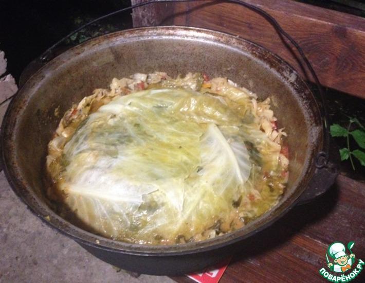Рецепт: Басма с говядиной и свининой в казане