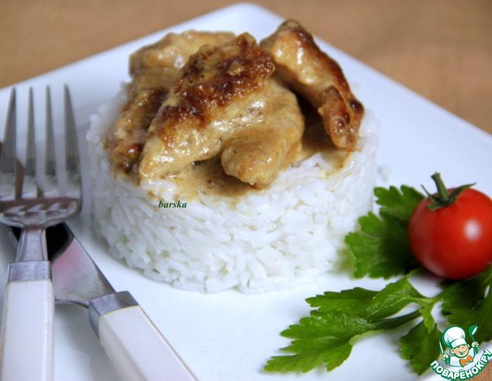 Рецепт: Обрезки индейки в сливочно-бальзамическом соусе