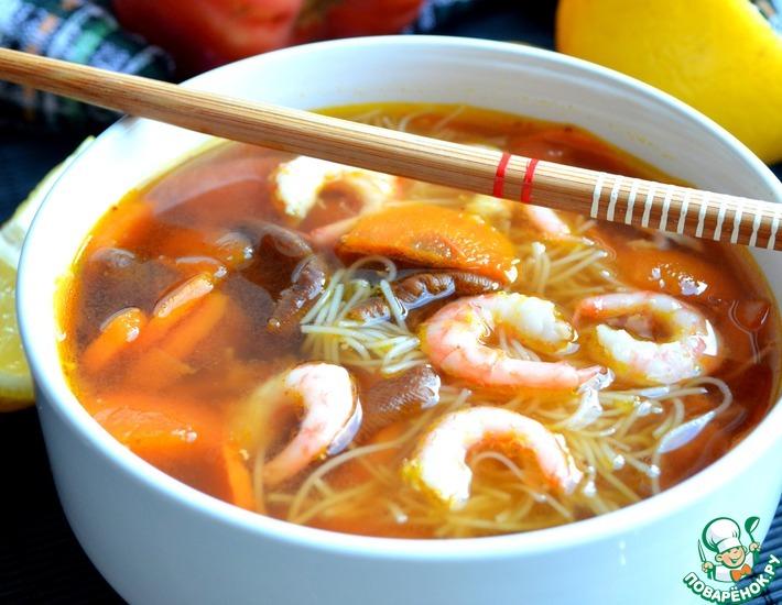 Рецепт: Суп с креветками и овощами