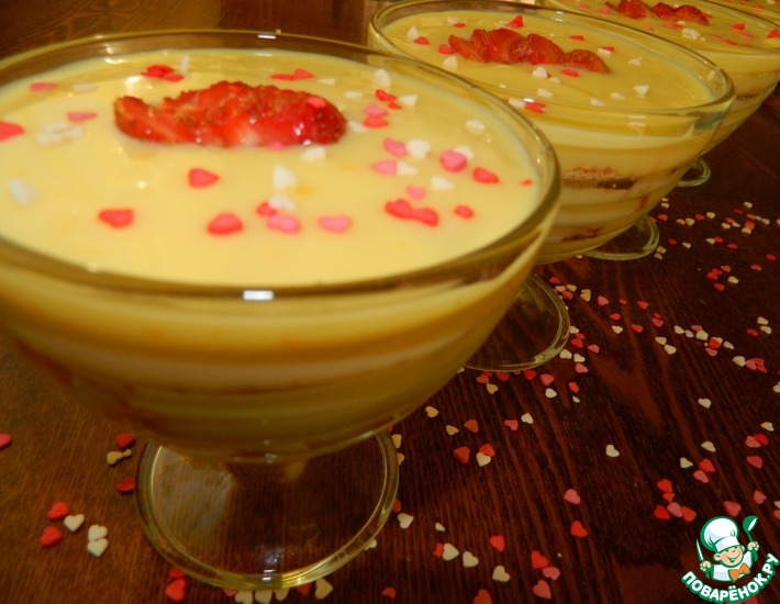 Апельсиновый десерт с клубникой – кулинарный рецепт