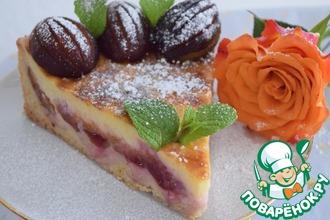 Рецепт: Сливовый пирог с ванильным кремом