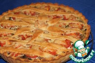 Рецепт: Картофельный пирог с грибами и помидорами
