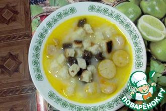Рецепт: Сырный суп с сухариками в мультиварке
