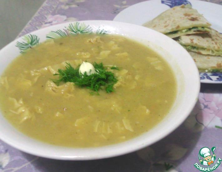 Рецепт: Вегетарианский гороховый крем-суп со спаржей