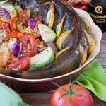 Терпуг, запеченный с овощами
