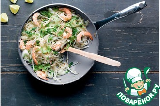 Рецепт: Рисовая лапша с креветками