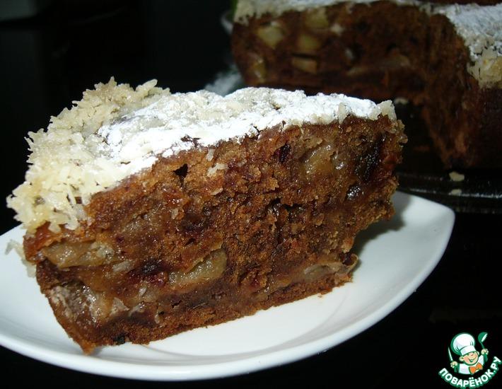 Рецепт: Яблочный пирог с финиками под сливочно-кокосовой заливкой