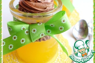 Рецепт: Апельсиновое желе со сливочно-шоколадным муссом