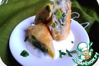 Рецепт: Картофель с зелёным горошком и беконом в рисовой бумаге