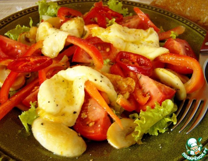 Рецепт: Салат из сулугуни с овощами
