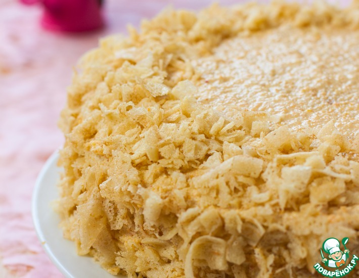 Рецепт: Закусочный торт Наполеон с креветочным муссом