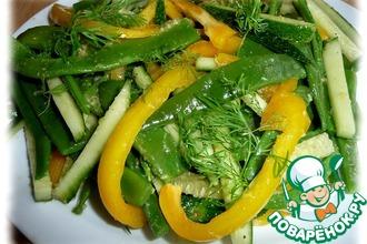 Рецепт: Салат из стручковой фасоли с овощами