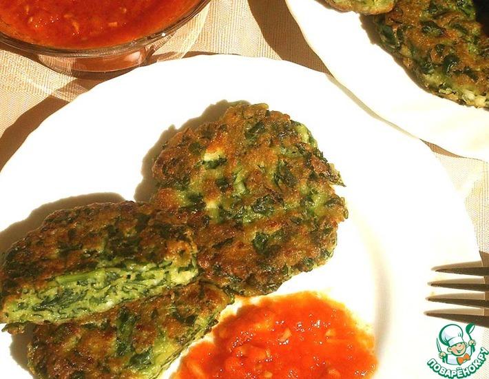 Рецепт: Лепешки шпинатные с козьим сыром