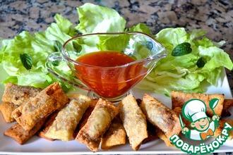 Рецепт: Хрустящие роллы со свининой и овощами