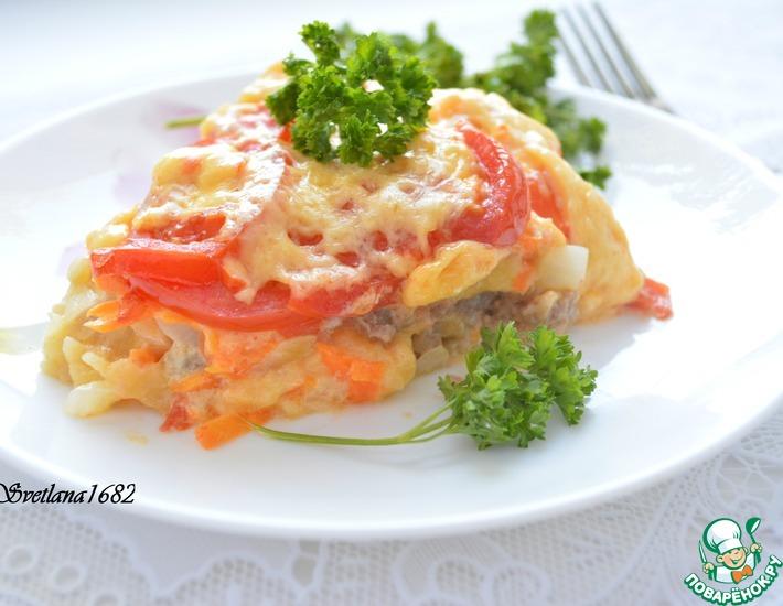 Рецепт: Пицца с мясным фаршем на картофеле