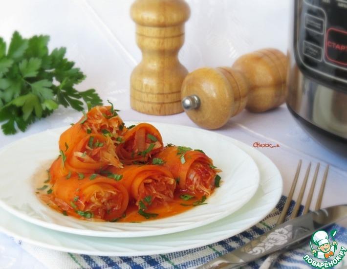 Рецепт: Рулетики из моркови с тушёной капустой