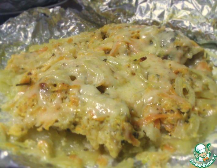 Рецепт: Рыба Лемонема запеченная в фольге с овощами