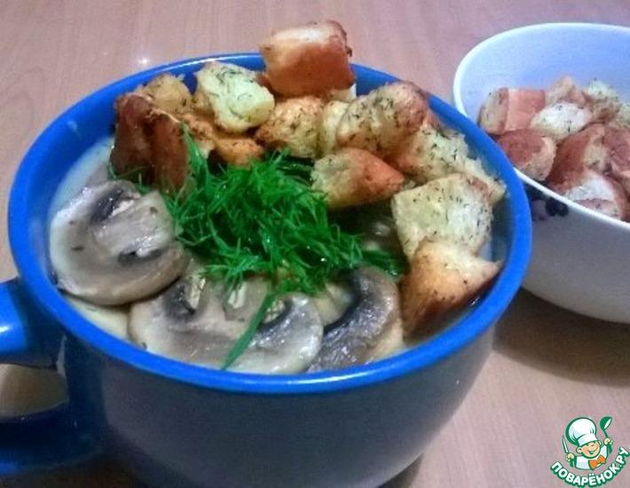 Рецепт: Картофельно-грибной крем-суп с гренками
