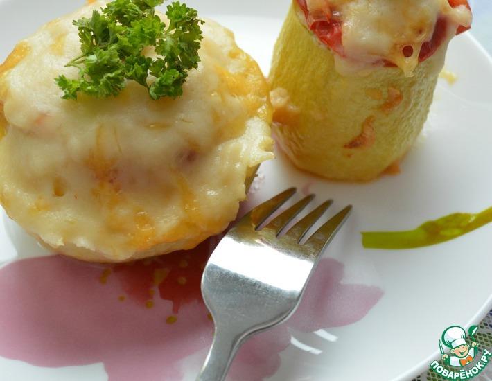 Рецепт: Тушеные кабачки с куриным фаршем в мультиварке