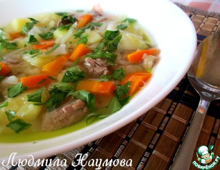 Рецепт: Суп мясной с зеленым горошком