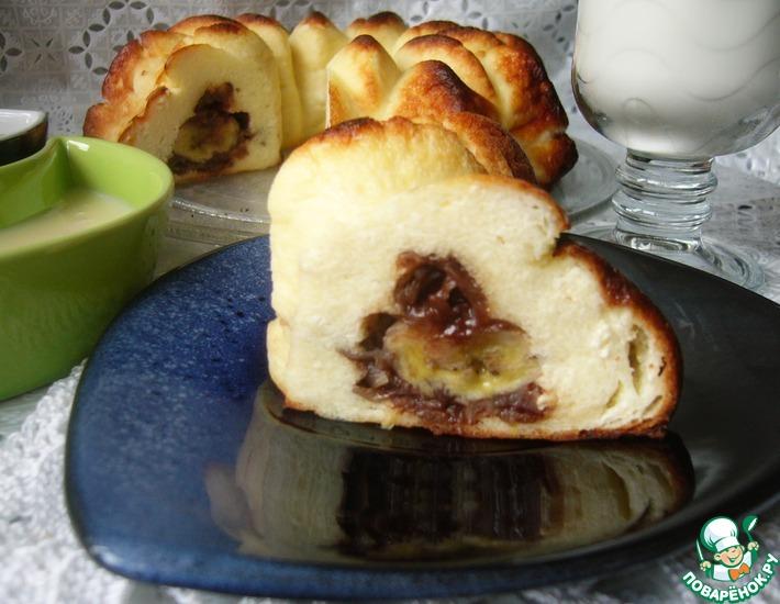 Рецепт: Творожная запеканка с бананами в шоколаде и рисовых хлопьях