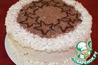 Рецепт: Бисквитный торт со сливочным кремом и бананами