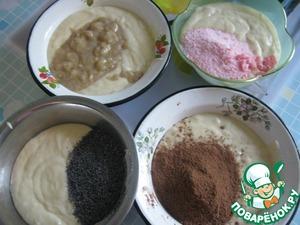 Тесто разделить на 4 равные части. В одну добавьте мак, в другую - какао-порошок, в третью - размятый банан, в четвёртую - сухой кисель.