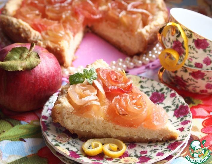 Рецепт: Творожно-лимонный пирог с яблочными розочками