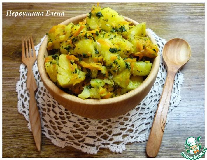 Рецепт: Картофель с морковью и шпинатом