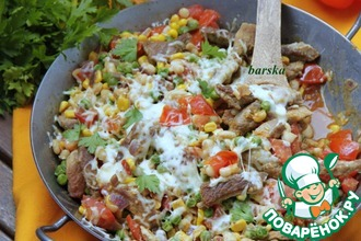 Рецепт: Сковорода Мексика со свиными шницелями