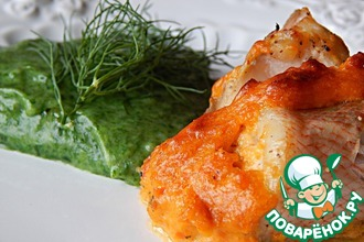 Рецепт: Филе окуня на картофельно-шпинатном пюре