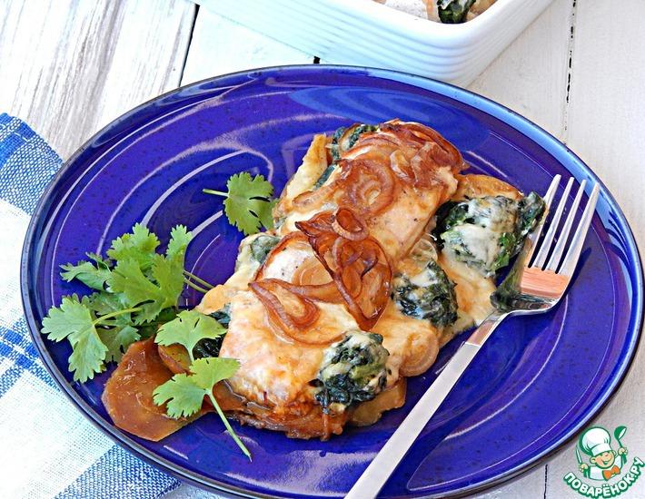 Рецепт: Запеченный лосось со шпинатом
