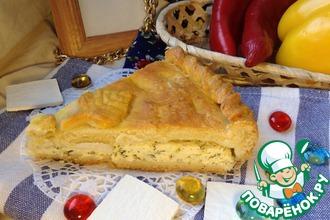 Рецепт: Творожно-сырный закрытый пирог с зеленью
