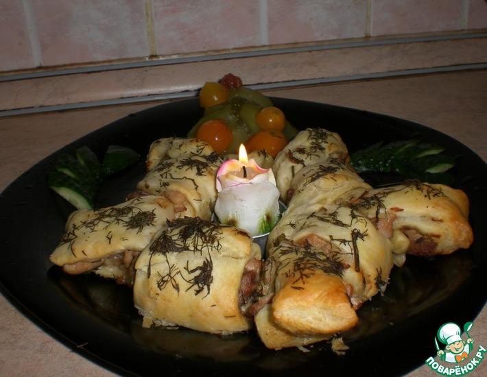 Рецепт: Новогодний венок Два мяса