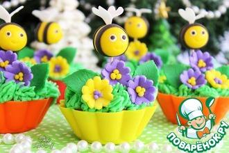 Рецепт: Ванильные капкейки Пчелки