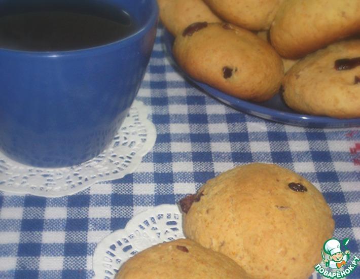 Рецепт: Творожное печенье с клюквой и овсяными хлопьями