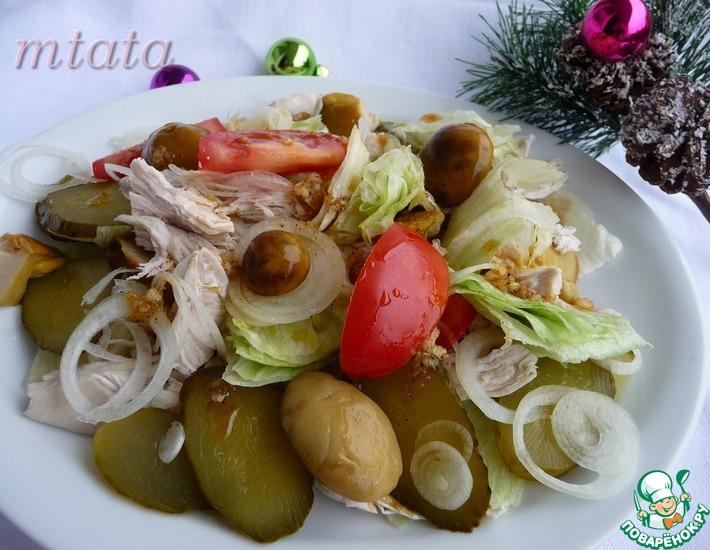 Рецепт: Салат из куриного филе с маринованными грибами