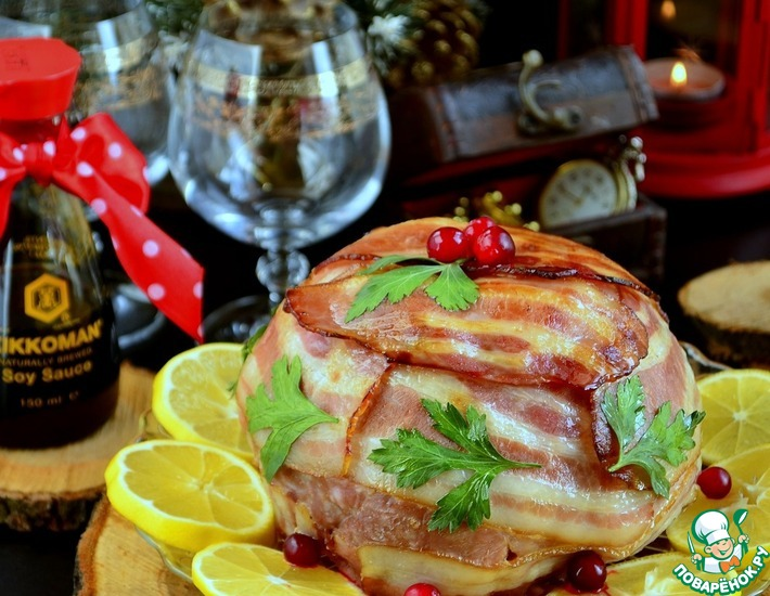 Рецепт: Мясная бомба с ананасом по-киккомановски