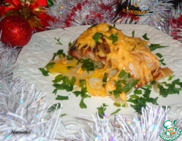 Рецепт: Розмариновый карп на картофельно-луковой подушке