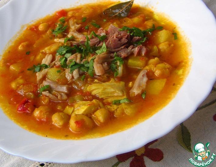 Рецепт: Тушеный нут с овощами и мясом