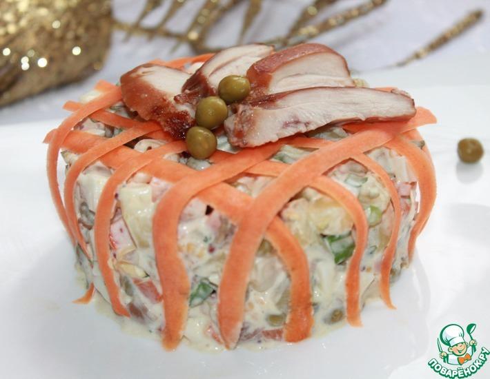 Рецепт: Салат Оливье с печеной курицей