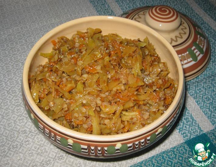 Рецепт: Тушеная капуста с гречкой